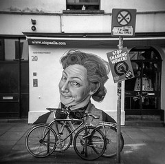 "Mrs Doyle, Go n Go on Go on, Pauline McGlynn, a piece of art by ""subset"" in Temple Dublin (monosnaps) Tags: dublin ireland film mrs doyle monosnaps eddiemallin father ted holga hp5 subset art dcc bikes ride refererendum 2018 repeal 8th repealthe8th temple bar darkroom"