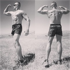 flex friday (ddman_70) Tags: shirtless pecs abs muscle shortshorts hiking flexing