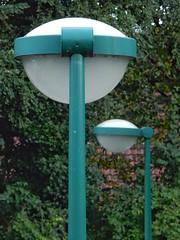 Two lampposts (sander_sloots) Tags: hollandse rading station lampposts cps400 philips armatuur lanterns luminaire armaturen straatverlichting green groen streetlamps streetlamp streetlight lichtmasten cps411 cps401 cityvision
