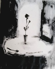 Table for One (Lindsaywhimsy) Tags: indianink abstract simplicity bw vase flower table window texture