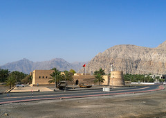 Khasab castle, Musandam Governorate, Khasab, Oman (Eric Lafforgue) Tags: ancient arabia arabianpeninsula arabic arabicstyle architecture beautyinnature builtstructure castle colorimage copyspace day exclave famousplace fort fortification fortress gulfcountries history horizontal khasab musandam musandampeninsula nationallandmark nopeople nonurbanscene oman oman18464 omani rockformation rockymountains sultanate tourism tranquilscene traveldestination traveldestinations musandamgovernorate