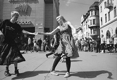 National day (p2-r2) Tags: nikon f3 f3hp national day june 6 uppsala sweden blackandwhite film kodax trix 400 street dancing skirt shadow nikkor50mmf12ais