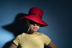 Julia (Bonngasse20) Tags: model fashion wwwphotoioncouk ionpaciu london girl pretty beautiful studio fashionmodel pose workshop coat sunglasses blondehair nikon nikond7200 d7200 lens sigmalens studiolighting beautydish softbox props pensive hat summerhat redhat
