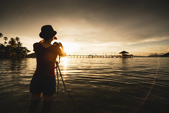 Female tourist take photograph of a beautiful sunset at sea, Koh Mak Thailand (Patrick Foto ;)) Tags: adult asia asian background beach beautiful beauty black camera concept digital equipment female hobby image landscape lifestyle light nature ocean outdoor people person photo photograph photographer photographing photography picture professional scenery sea silhouette sky standing summer sun sunrise sunset take technology tourism tourist travel tropical vacation view vintage woman young tambonkohchangtai changwattrat thailand th