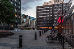 Downtown Camper by Scandic (PhredKH) Tags: canonphotography fredkh photosbyphredkh phredkh splendid travelphotography traveltostockholm stockholm sweden hotels buildings people 2470mm ef2470mmf4lisusm canoneos5dmarkiii bicycles twilight sky bike building