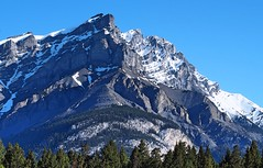 Just another mountain (Yuth-in-Asia) Tags: landscape banffnationalpark blue sky tunnelmountain trees green mountain snow white