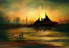 HMS Belfast in Old Shanghai (Pat McDonald) Tags: artrage digitalart cruiser britain fleet hongkong navy sea sailor royalnavy retrato ship uk waves whiteensign hmsbelfast iwm fareastfleet chinastation shanghai theforgottenfleet