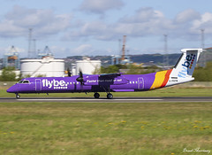 Flybe Dash-8 G-PRPM (birrlad) Tags: belfast bhd city airport northern ireland ni aircraft aviation airplane airplanes airline airliner airlines airways flybe bombardier dash8 q400 turboprops prop jersey takeoff departing departure runway gprpm georgebest