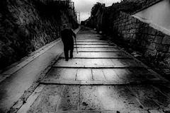 Street 571 (soyokazeojisan) Tags: japan osaka bw street city people blackandwhite walk monochrome analog olympus m1 trix film kodak 1970s 1975 memories 昭和