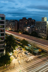 Taipei (D. R. Hill Photography) Tags: taipei taiwan city cityscape skyline urban capital road traffic traffictrails asia travel nikon nikond750 d750 nikon28mmf18g 28mm primelens fixedfocallength wideangle longexposure night dusk rushhour