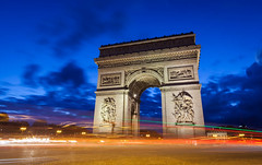 Arc De Triomphe (nzfisher) Tags: arcdetriomphe arc arch monument landmark cityscape landscape longexposure lighttrail blue orange france paris relief 24mm canon skyline night nightsky travel holiday building