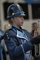 Trumpeter (Scott 97006) Tags: woman uniform trumpet helmet marching musician blonde