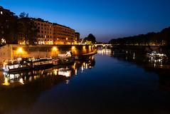The Tiber at Night (Lars Ørstavik) Tags: tiber rome italy night water dark evening buildings sky