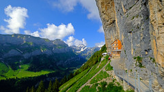 The house on the rock (ej - light spectrum) Tags: mountains berge schweiz switzerland suisse svizzera alpstein rock fels alps alpen landscape landschaft house haus fujinon wideangle weitwinkel felsen postcard postkarte tal valley wildkirchli ebenalp xf1024mmf4r fujifilm xt2 berg himmel sky スイス 瑞士 bergwelt שווייץ נופים 景観 山岳