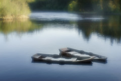 Rowboats - color version (Helena Normark) Tags: rowboats oldrowboats nidelven nidelva leirfoss trondheim sørtrøndelag norway norge sonyalpha7 a7 50mm monocle монокль monolens russianlens softfocus