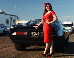 Holly_9151 (Fast an' Bulbous) Tags: girl woman wife pinup model red wiggle dress long brunette hair high heels stockings sexy classic american car vehicle automobile pontiac transam