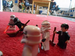 DSCN1140 (classroomcamera) Tags: school classroom floor floors carpet carpets rug rugs red blue star wars lego legography pose poses posing action scene scenes soccer ball balls game games stick sticks stormtroopers batman stormtrooper cape capes mermaid mermaids foreground background play plays playing broom brooms