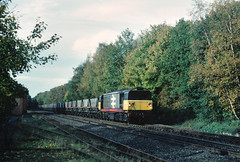 Meanwhile back on my local patch.......58005 Rugeley-Daw Mill mt MGR Sutton Park stn 24-10-1989 with the post office parcels depot connection still in place.... (the.chair) Tags: 58005 rugeley psdaw mill sutton park oct 1989
