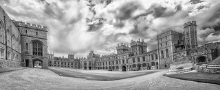 Windsor castle  Upper Ward panoramic view B-W
