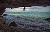 Cave View (free3yourmind) Tags: cave view sea waves rocks stones clouds cloudy day greece peloponnese