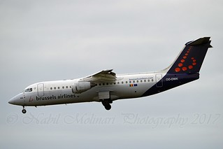 Brussels Airlines OO-DWK British Aerospace Avro RJ100 cn/E3360 wfu 02-04-2017 std at NWI 15-04-2017 @ EBBR / BRU 25-02-2017