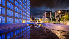 Public Library - Stuttgart, Germany - Architecture photography (Giuseppe Milo (www.pixael.com)) Tags: photo night building reflection germany city clouds blue urban travel photography light architecture buildings stuttgart europe geotagged sky badenwürttemberg de onsale