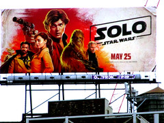 Solo A Star Wars Movie Billboard NYC 3005 (Brechtbug) Tags: solo a star wars movie billboard alden ehrenreich han donald glover lando calrissian joonas suotamo chewbacca woody harrelson tobias beckett may 2018 new york city portrait portraits eight story space opera film science fiction scifi robot metal man adventure galactic prototype design metropolis standee nyc poster billboards posters 34th st herald square ad ads advertisement advertisements 05242018