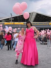 Pink satin pair (Paula Satijn) Tags: hot pink girl lady dress gown ballgown skirt fuchsia bight gurl tgirl satin silk silky shiny outside girly feminine elegant style happy joy smile happiness fun pinkmonday tilburg crowd public