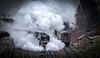 Steam, in all its glory (Peter Leigh50) Tags: great central railway railroad rail locomotive 9f 92214 steam fujifilm fuji xt10 train coach carriage shed hut signal wet rain