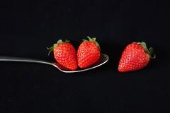 three strawberries (majka44) Tags: strawberry red lifestyle light creation black food fructis