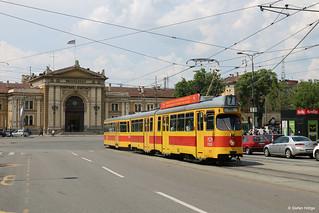 Belgrad 2123+1448 auf der Linie 7 vor dem Hauptbahnhof, 25.05.2018