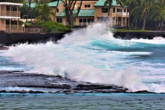 Big surge (thomasgorman1) Tags: resort wave waves nature pool saltwater nikon scenic tide surge crashing trees tropical hawaii island rocks lavarock wall seawall