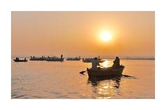 Spiritual Places - India - The Ganges (4) (The Spirit of the World ( On and Off)) Tags: sunrise sun light boat boats rows oars rowboats pilgrims sacred holy river water india varansi asia religious hinduism reflections silhouettes morning ritual pilgrimage journey