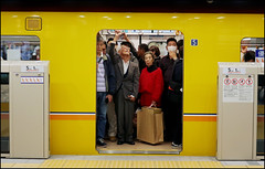 Low Volume Subway - Tokyo, Japan (TravelsWithDan) Tags: subway metro underground tokyo japan people candid canong9x transportation ngc