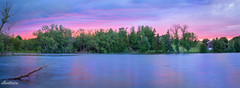 Mystical Evening (Donna Brittain - See what I see) Tags: durhamcountyontariocanada mudlake barn sunset water sky panorama evening log branch blue violet awe challenge