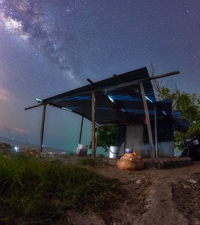 House under Milky Way