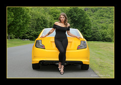 """TELL ME ABOUT IT"" (Peter Camyre) Tags: nicole jupiter photoshoot quabbin reservoir june 10 2018 female friend model pose posing car with scion tc yellow black canon 5d mkiii trees summer green road high heels fashion sexy girl lady ladies"