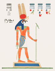 Montu illustration from Pantheon Egyptien (1823-1825) by Leon Jean Joseph Dubois (1780-1846). Digitally enhanced by rawpixel.