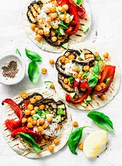 grilled vegetables and spicy chickpeas tortillas... (sonja-ksu) Tags: food grilled vegetables spicy chickpeas tortillas snack vegetarian eggplant pepper cauliflower basil sauce foodphotography