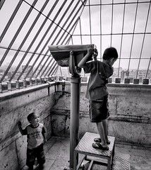 Little Observer (rizqyunggul) Tags: amateur jakarta indonesia candid urban people children blackwhite streetphotography