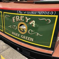 Freya, Long Boat, Regent's Canal (Tom Willett) Tags: canal walk regentscanal iphone square paddingtonbasin barge boat canalboat longboat towpath