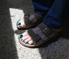 New Birkenstocks! (toepaintguy) Tags: male guy men man masculine boy nail nails fingernail fingernails toenail toenails toe foot feet pedi pedicure sandal sandals polish lacquer gloss glossy shine shiny sexy fun daring allure gorgeous colors by larowe emerald illusion green blue duochrome birkenstock