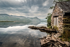 Llyn Dinas Boathouse (Nathan J Hammonds) Tags: llyn dinas lake reflection reflecting water sky clouds north wales snowdonia boathouse rocks mountains landscape phototgraphy calm beauty stone overcast scenic uk tranquil outdoors nikon d750 hdr building