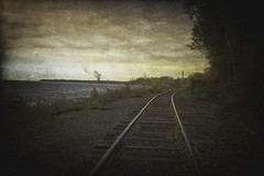 The Last Train Ride (delmarvajim) Tags: digitalart digitalprocessing digitaleffects fineart texture drama traintrack powerplant clouds light dark shadow