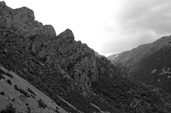 Cliffs fron the scree (José J. Almuedo) Tags: pirineos landscape fineart monochrom nature bw blackandwhite leicaxtyp113 leica highmountain dramaticlandscape montaña rockformation hillside mountainpass alpine mountainside mountain valley scree cliffs