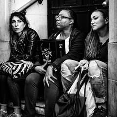 Aspects (Kieron Ellis) Tags: women sitting steps waiting bag bags whiskey glasses street candid blackandwhite blackwhite monochrome