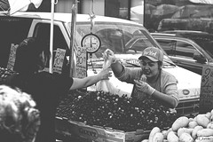 The Sale (iecharleton) Tags: streetphotography people blackandwhite candid outdoors monochrome cash money sale market fruit vegetable nopicking chinatown