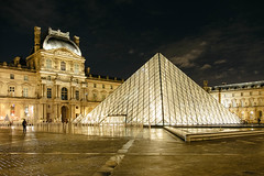 Louvre Pyramid at night (Luca Quadrio) Tags: illumination historic reflection monument city louvre museum design view night landscape art winter water landmark tourism facade cityscape travel evening entrance light culture famous town urban france construction french dark sky building glass paris pyramid europe palace architecture