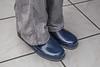 Rubber boots under pants (Anton Stiefel) Tags: rubber boots rubberboots gummi stiefel gummistiefel shiny glänzend blau blue silver silber romika bobby hose pants woman frau sommer summer feet füse sweaty schwitzig girl stoffhose