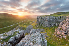 Oxnop Sunset (matrobinsonphoto) Tags: oxnop scar swaledale sunset sunlight sun light evening golden hour clouds dusk countryside landscape limestone cliff cliffs edge yorkshire dales north national park valley green summer rural outdoors nature natural beautiful scenic view vista
